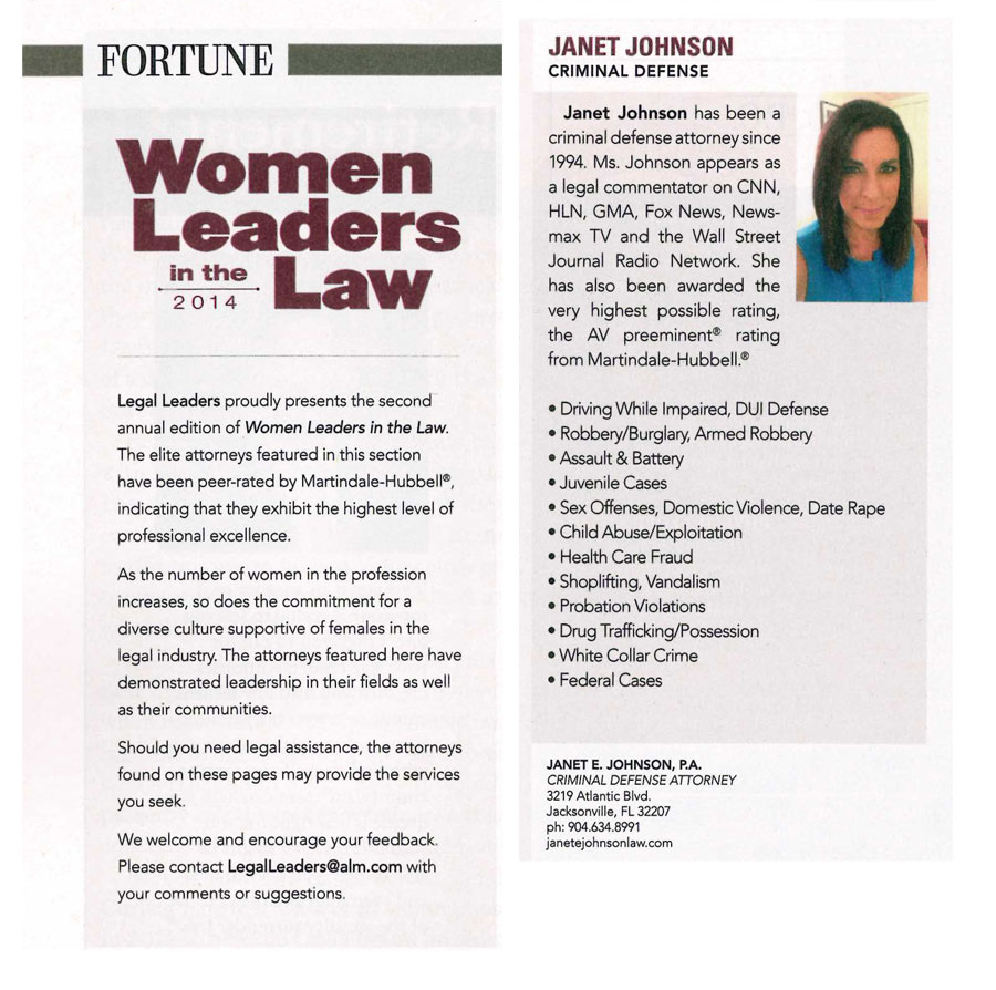 Jacksonville attorney Janet Johnson featured in Fortune Magazine Women Leaders in the Law
